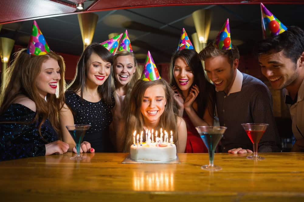 Teens celebrating a birthday party